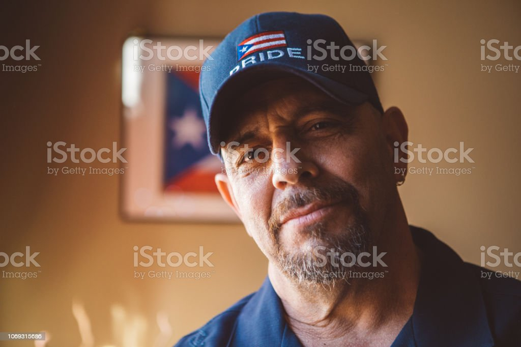 portrait of a proud Puerto Rican man stock photo