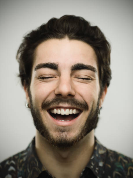 Portrait of a real smiling man stock photo