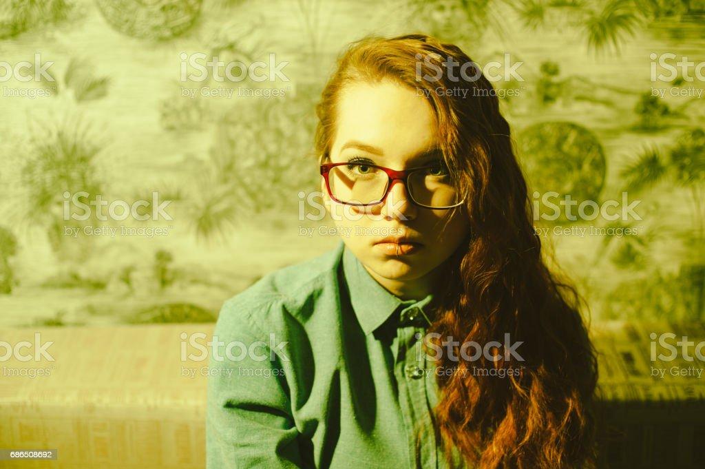Portrait of a red-haired girl. zbiór zdjęć royalty-free