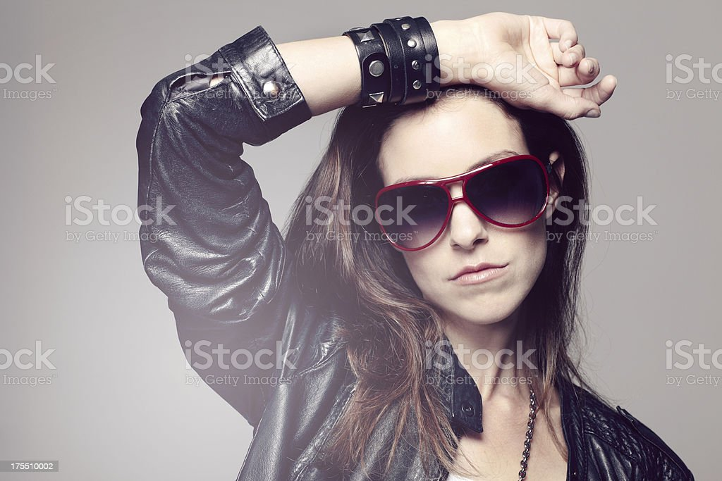 Portrait of a rock chick stock photo