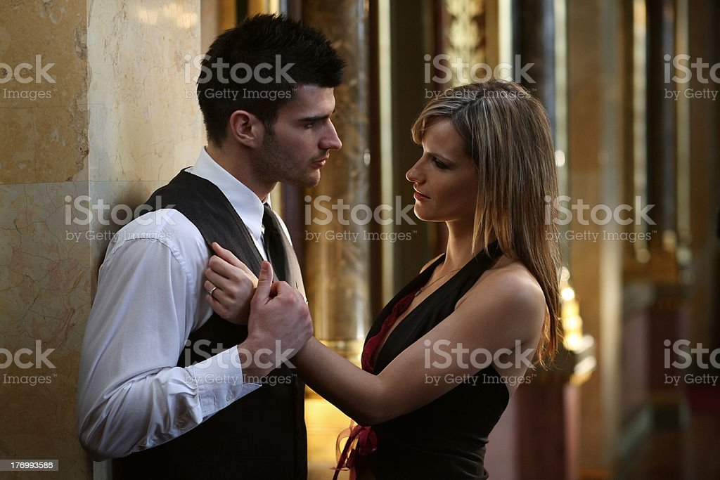 Portrait of a romantic young couple stock photo