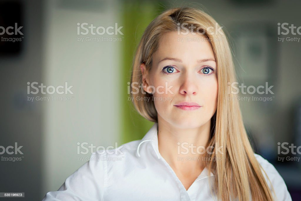 Portrait Of A Sad Woman looking at the camera stock photo