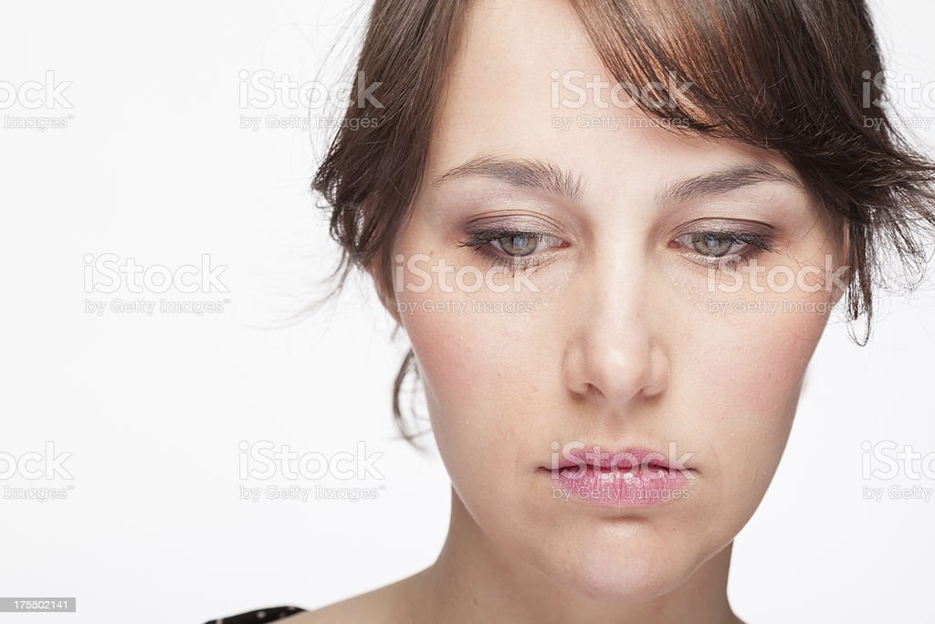 Portrait of a sad young woman stock photo