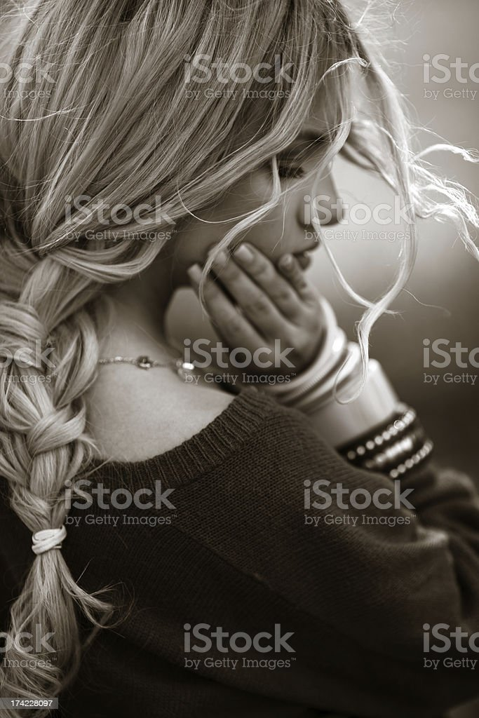 Portrait of a sadness young woman royalty-free stock photo