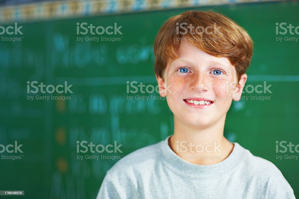 Portrait of a schoolboy smiling by the board royalty-free stock photo