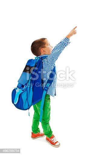 1176772377 istock photo Portrait of a schoolboy with backpack is pointing up 496259734