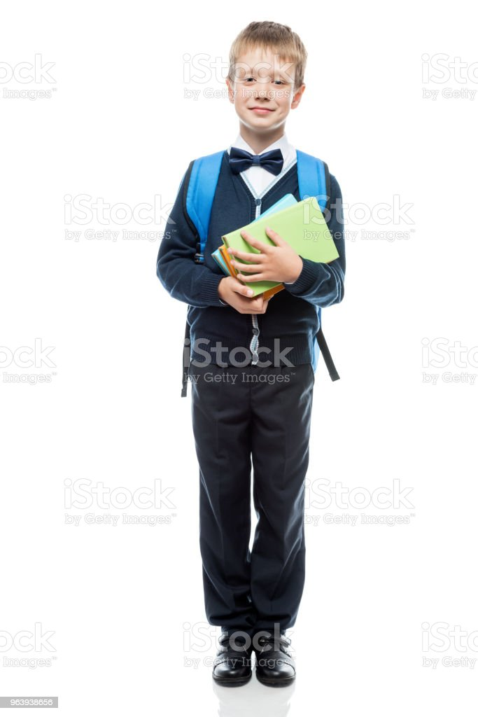 portrait of a schoolboy with books on a white background in studio isolated - Royalty-free Animal Stock Photo