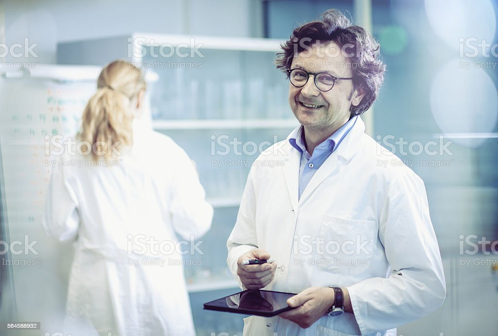 Portrait of a Scientist in a Modern Laboratory stock photo