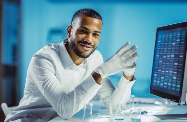 Portrait of a Scientist in The Laboratory stock photo