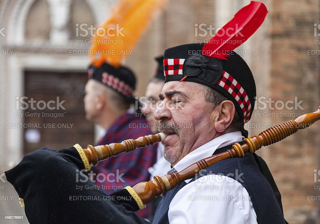 Portrait of a Scottish Bagpiper royalty-free stock photo