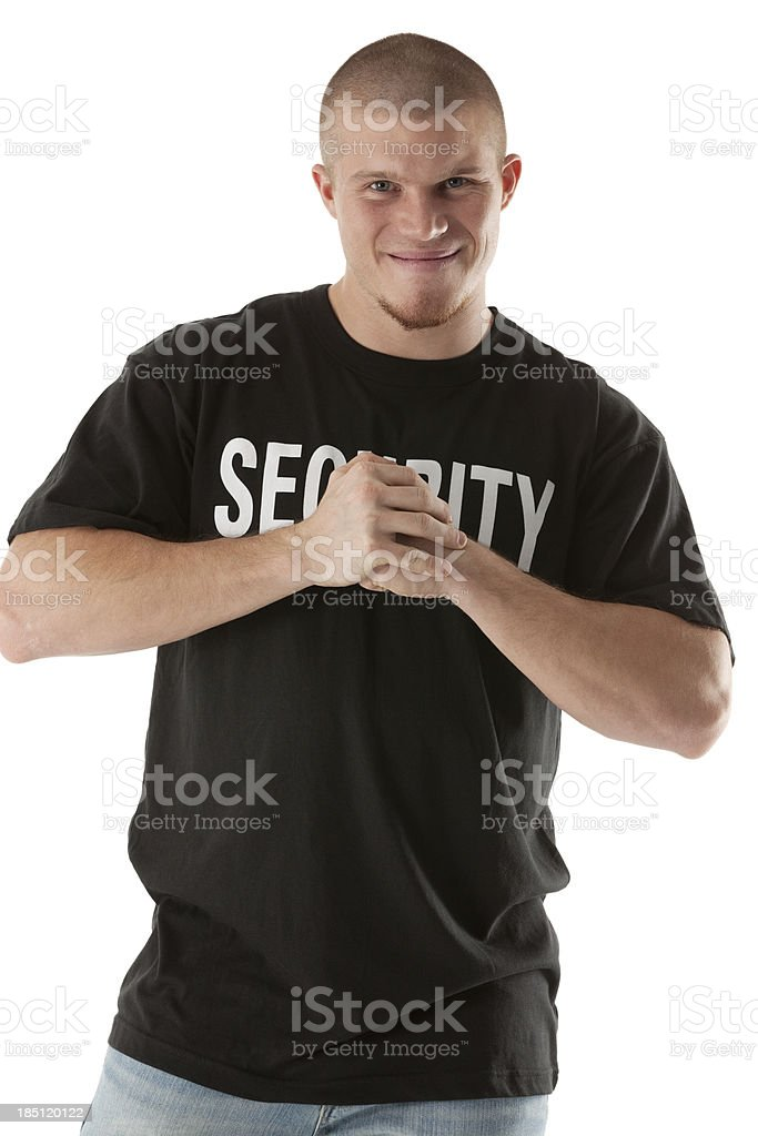 Portrait of a security guard smiling royalty-free stock photo
