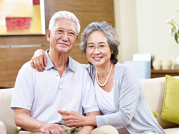 portrait of a senior asian woman stock photo