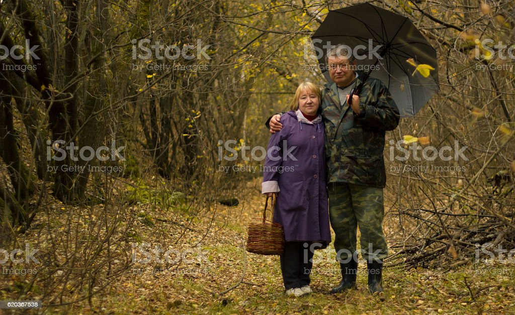 Portrait of a Senior couple in the autumn park, family zbiór zdjęć royalty-free