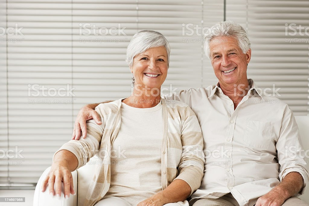 Portrait of a senior couple sitting together royalty-free stock photo