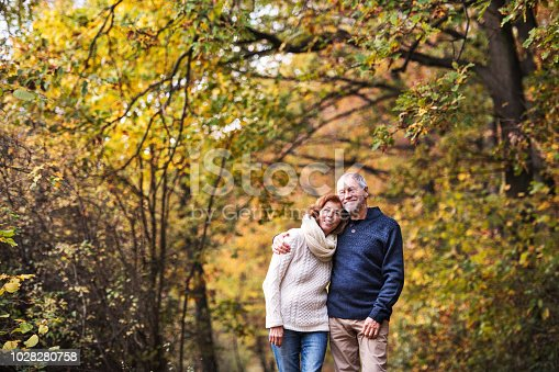 istock A portrait of a senior couple standing in an autumn nature. Copy space. 1028280758