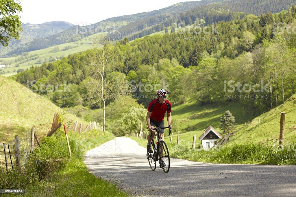 Portrait of a senior cyclist stock photo