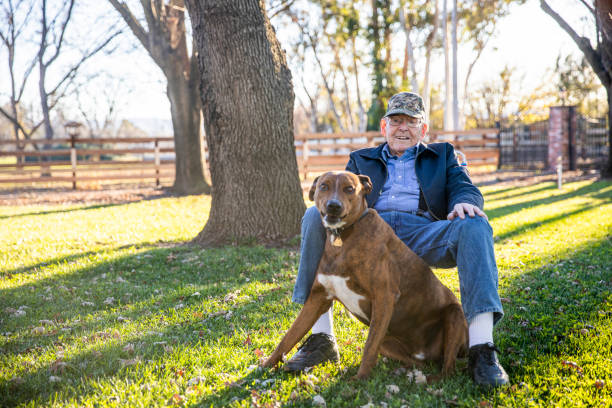 Portrait of a Senior Farmer with his Dog stock photo