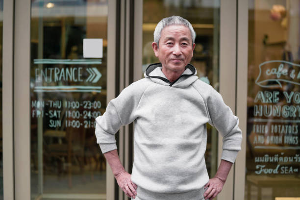 portrait of a senior japanese man - east asian ethnicity stock photos and pictures