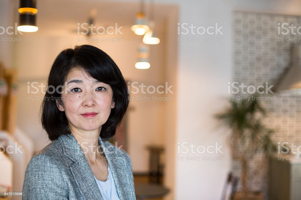 Portrait of a senior Japanese woman stock photo