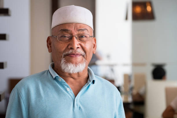 Portrait of a senior malaysian man stock photo