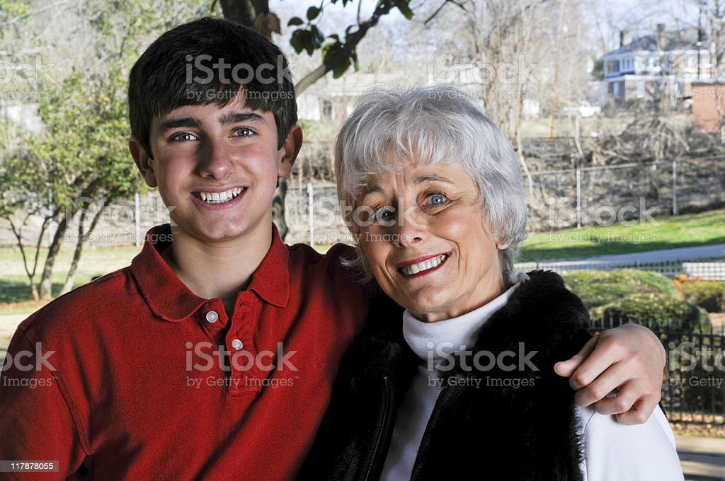 Portrait of  a Senior Woman and her Grandson royalty-free stock photo