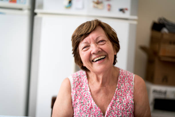 Portrait of a Senior Woman at Home stock photo