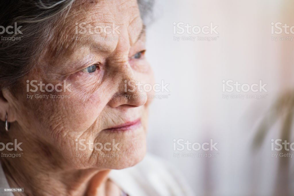 Portrait of a senior woman at home. stock photo