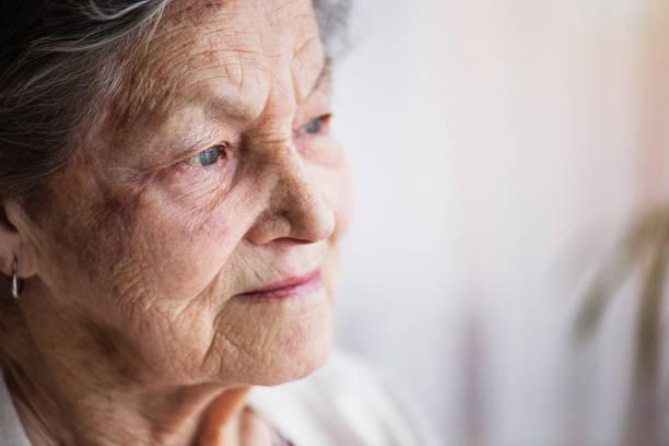 portrait d'une femme senior à la maison. - seulement des femmes seniors photos et images de collection