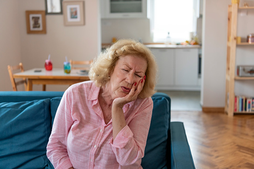 istock Portrait of a senior woman in pain. 1159236458