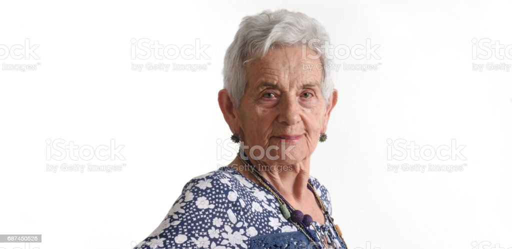 portrait of a senior woman on white stock photo