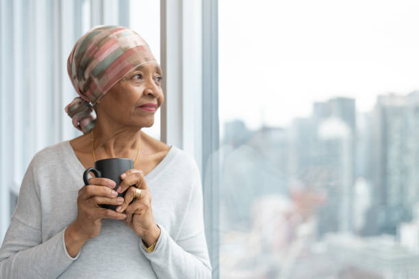 Portrait of a senior woman with cancer stock photo