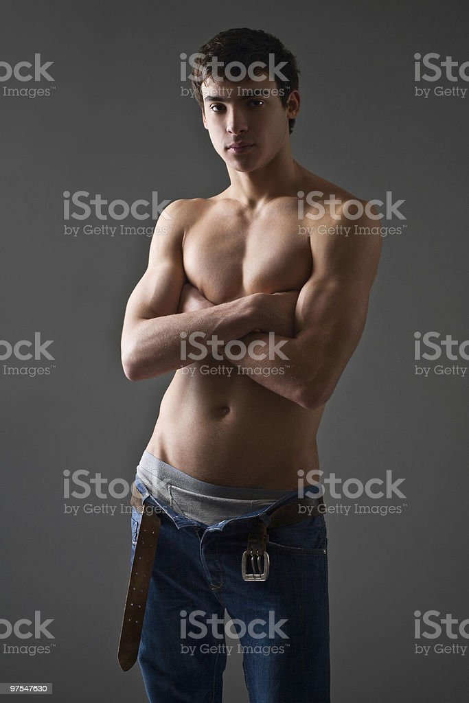 portrait of a shirtless young man royalty-free stock photo