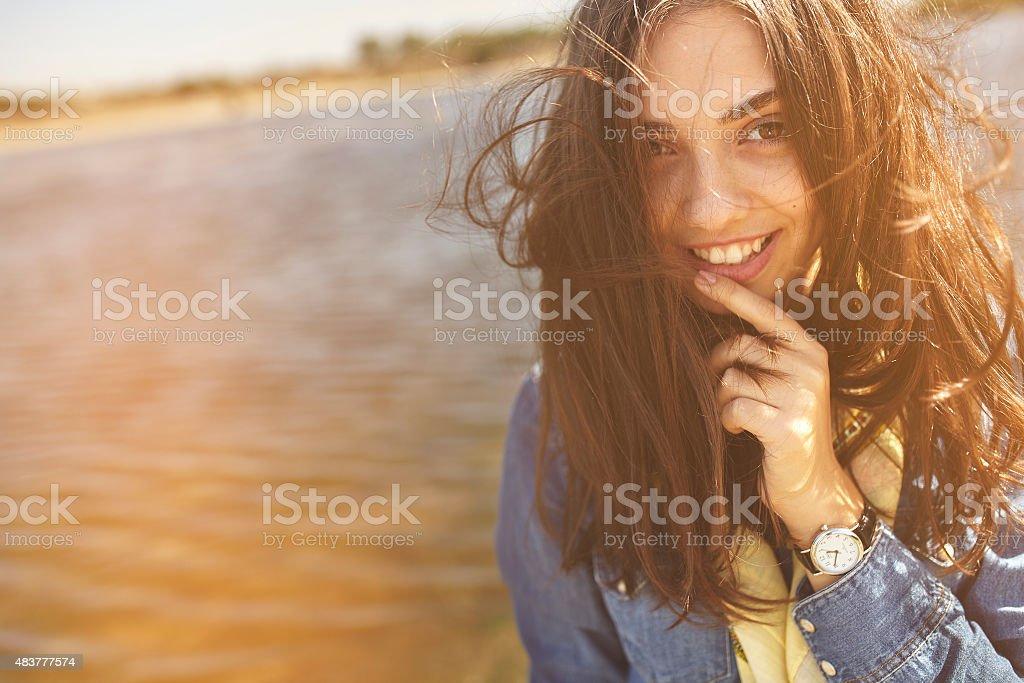 Portrait of a shy girl stock photo