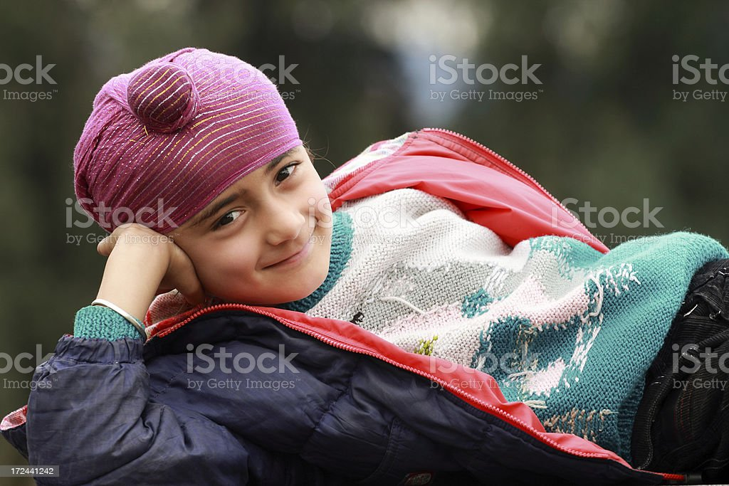 Portrait of a sikh child stock photo