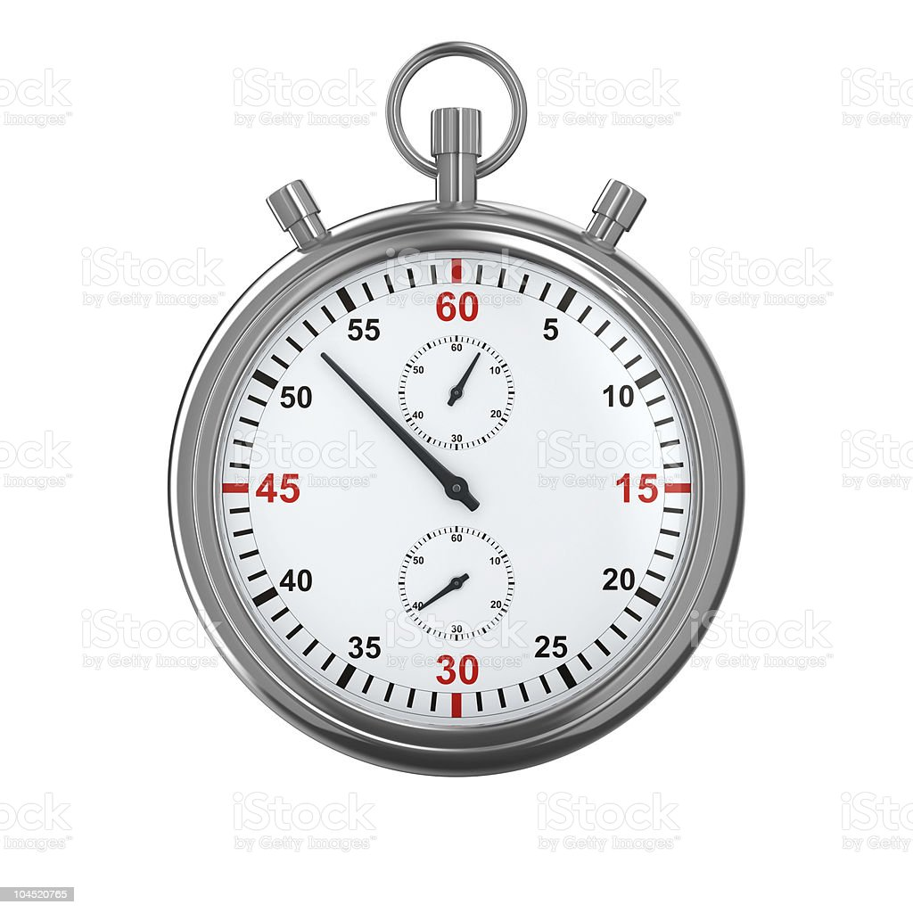 Portrait of a silver stopwatch on a white background stock photo