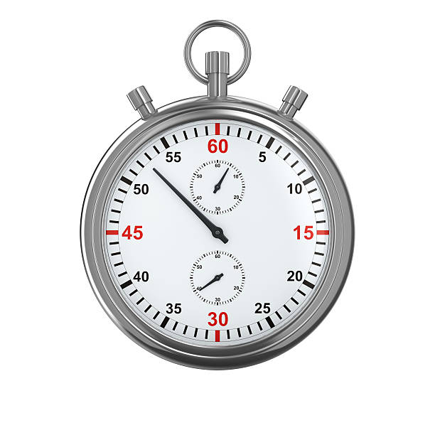 portrait of a silver stopwatch on a white background - stop watch stock photos and pictures