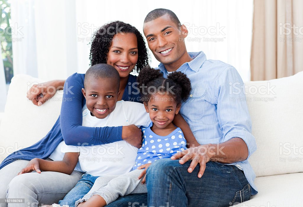 Portrait of a Smiling Afro-american family stock photo