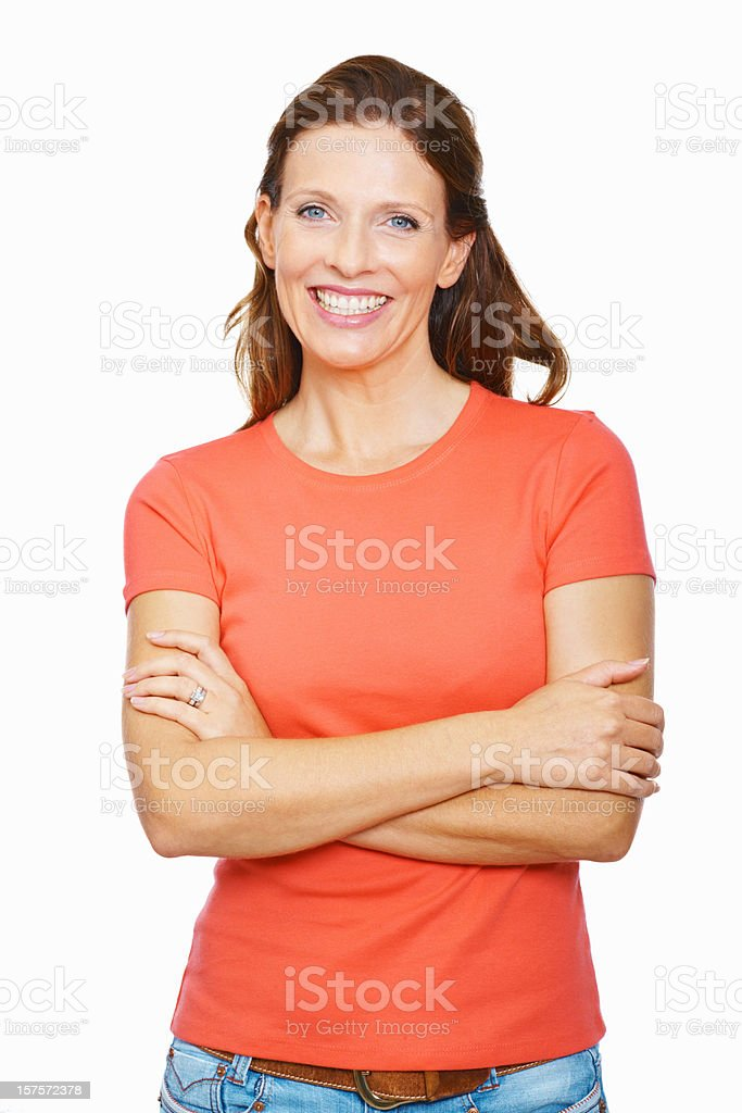 Portrait of a smiling beautiful mid adult lady stock photo