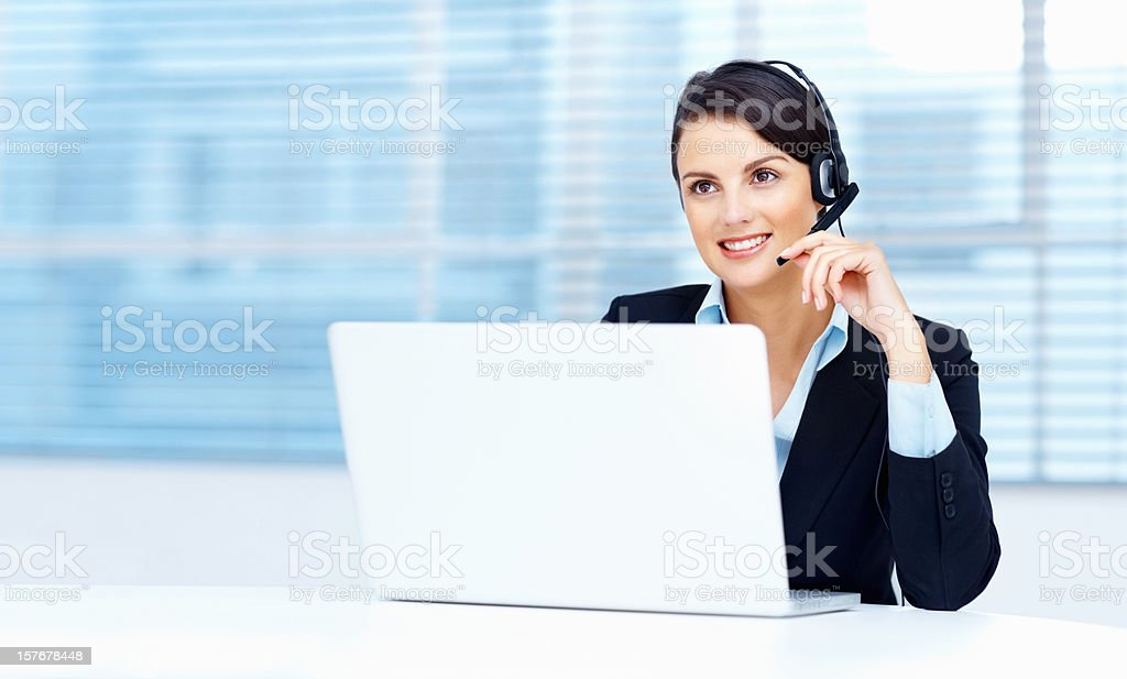 Portrait of a smiling business woman with copyspace royalty-free stock photo