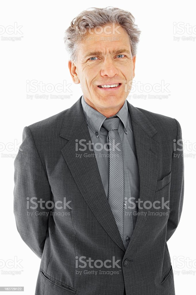 Portrait of a smiling businessman in a gray suit royalty-free stock photo