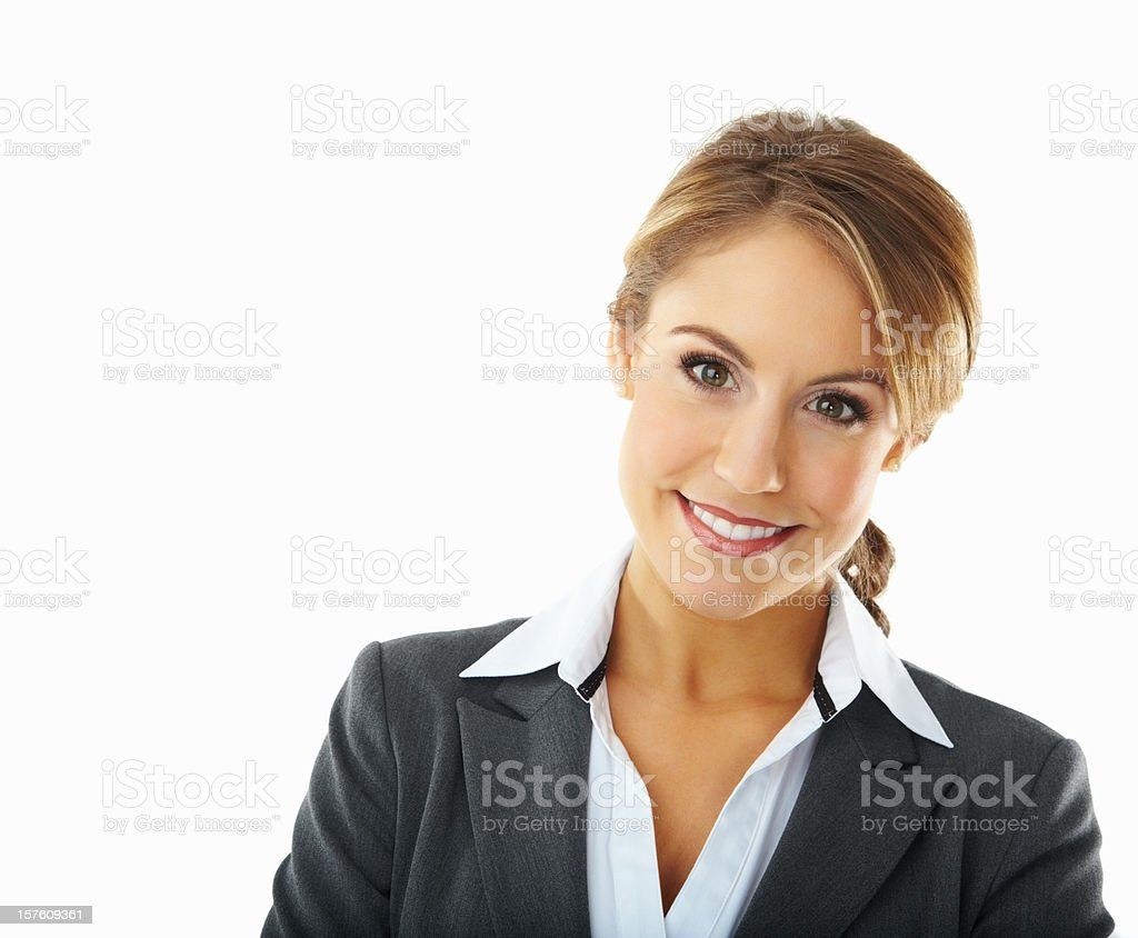 Portrait of a smiling confident young businesswoman royalty-free stock photo