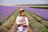 istock Portrait of a smiling farmer woman surveying the lavender harvest in an organic farm on a bright sunny day. Tractor harvesting the crop. Shot in Bulgaria. Agriculture. Women leaders. 1257380343