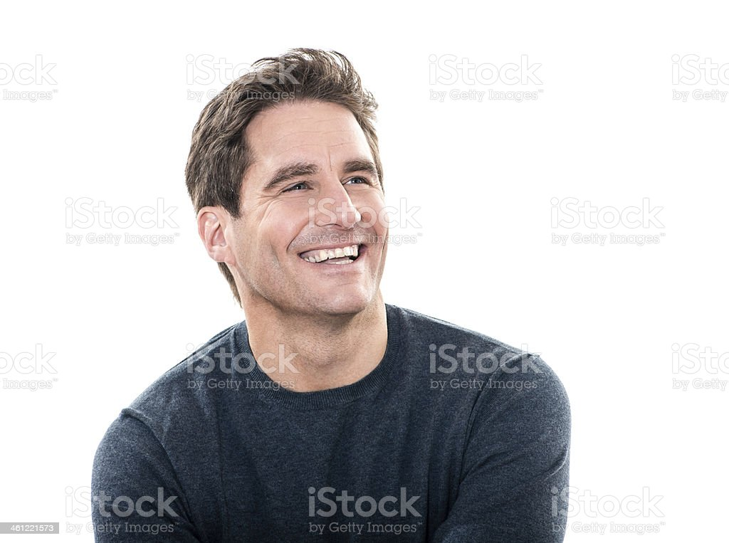 Portrait of a smiling handsome man in a dark t-shirt stock photo