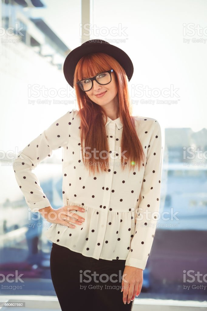 Portrait of a smiling hipster woman royalty-free stock photo