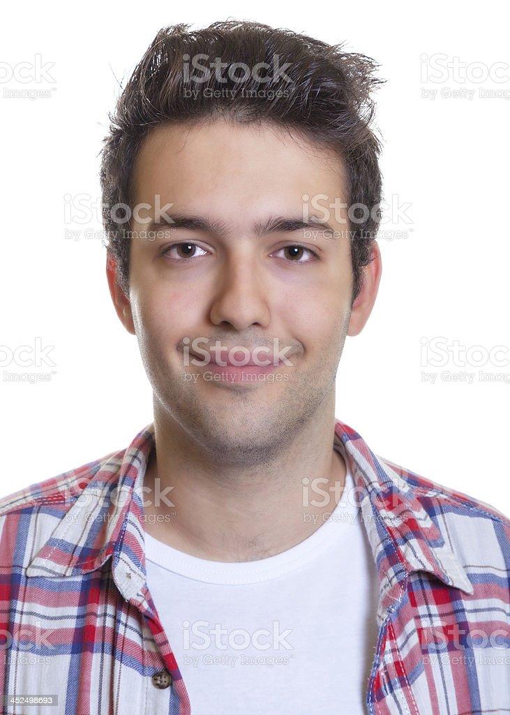 Portrait of a smiling hispanic guy stock photo