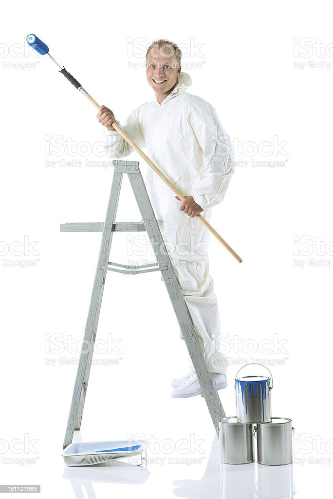 Portrait of a smiling house painter stock photo