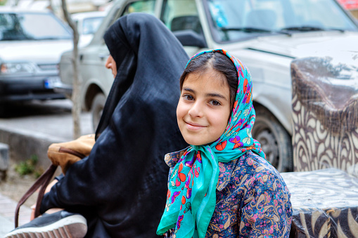 Portrait Of A Smiling Iranian Teenage Girl In Hijab Shiraz