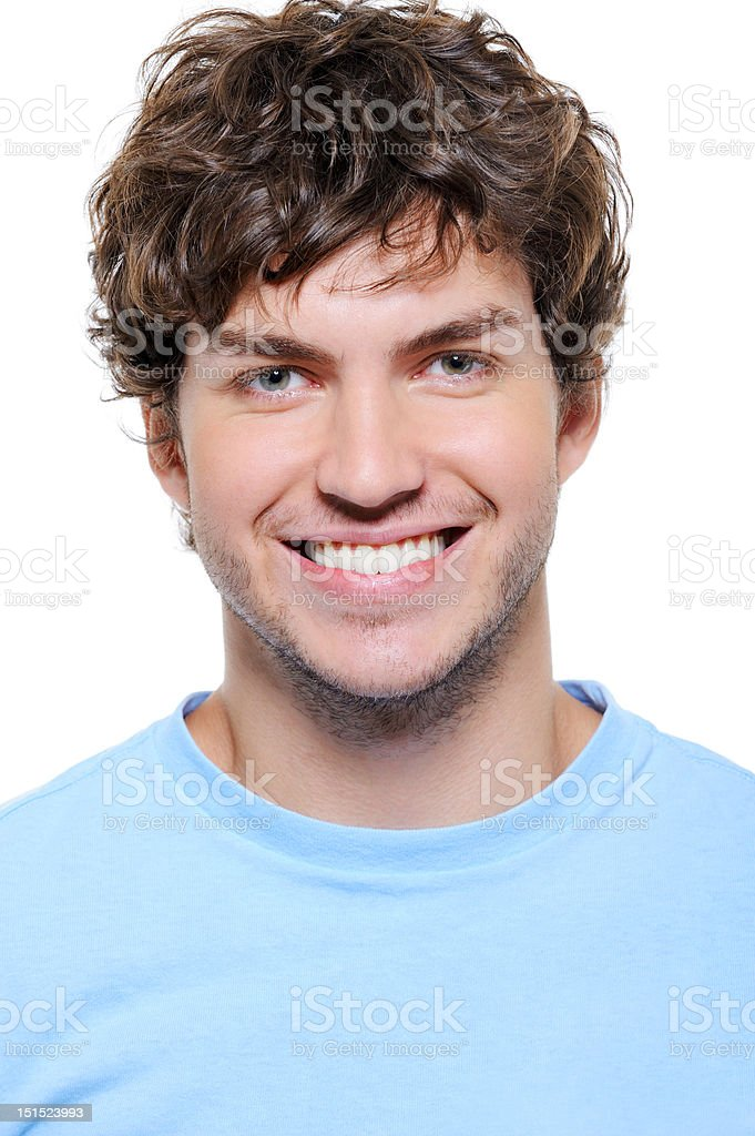 portrait of a smiling man with healthy teeth stock photo