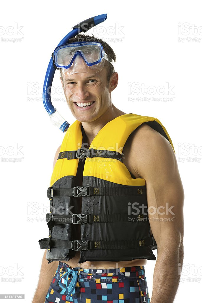 Portrait of a smiling man with snorkeling gear royalty-free stock photo