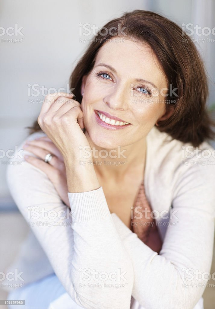 Portrait of a smiling mature lady stock photo